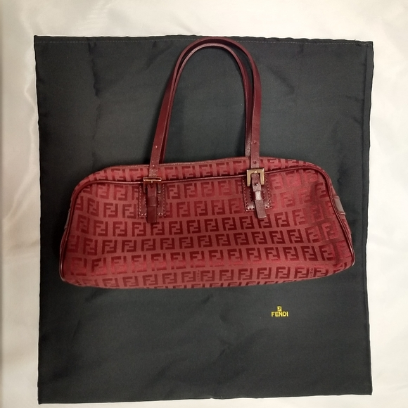 FENDI Red Zucca Pattern DBL Strap Canvas Leather